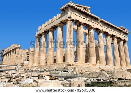 Parthenon on the Acropolis of Athens. Greece. Religious building of ancient times. - stock photo