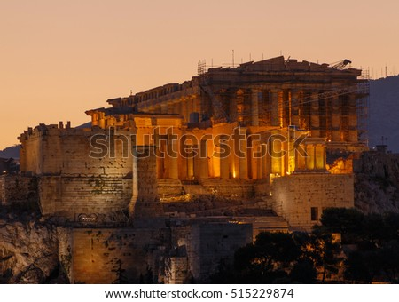 Parthenon temple in Athens at sunrise