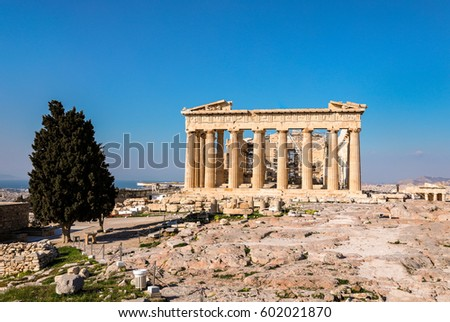 Parthenon temple on a bright day. Acropolis in Athens, Greece. Spring.
