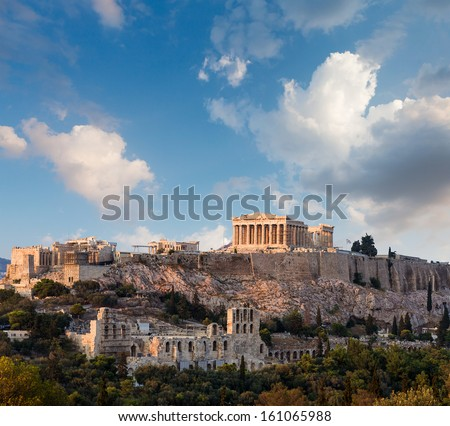 Parthenon temple on Athenian Acropolis, Athens, Greece - stock photo