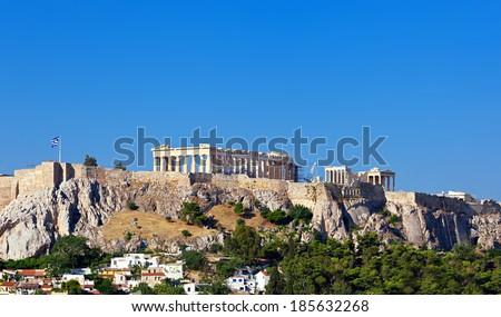 Parthenon temple on Athenian Acropolis, Athens, Greece. - stock photo