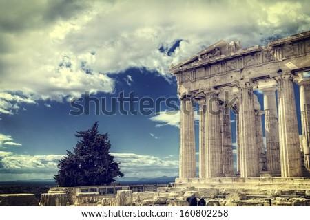Parthenon temple on the Acropolis of Athens, Greece  - stock photo