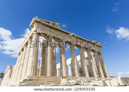 Parthenon temple on the Acropolis of Athens,Greece