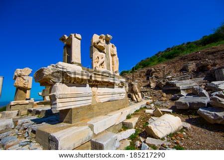 Parthenon, temple on the Athenian Acropolis, dedicated to the maiden goddess Athena - stock photo