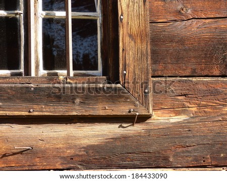 Partial view of a wooden window
