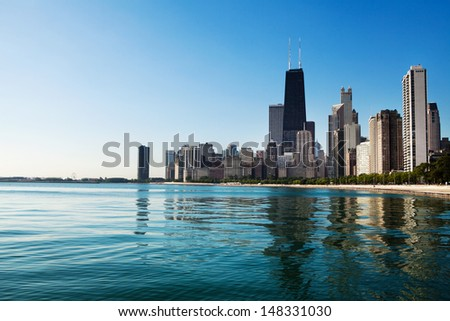 Partial view of Chicago skyline from North Avenue Beach - stock photo