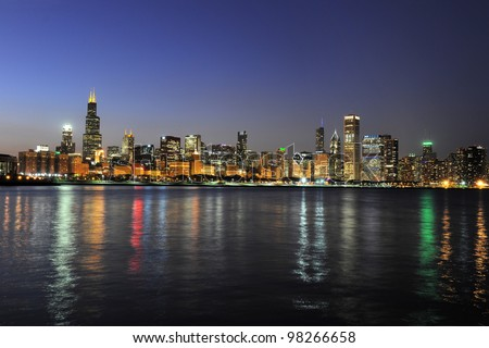 Partial view of downtown Chicago skyline at dusk - stock photo