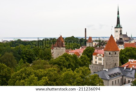 Partial view of Tallinn the capital city of Estonia in gray day - stock photo