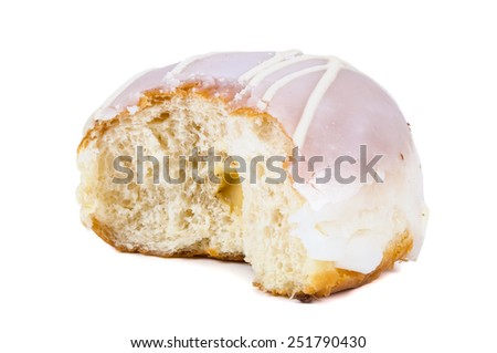 Partially eaten glazed donut isolated on white background with clipping path - stock photo
