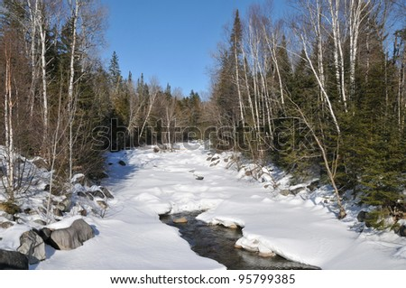 Partially frozen river winding through a stand of birch trees near Byron, Maine - stock photo