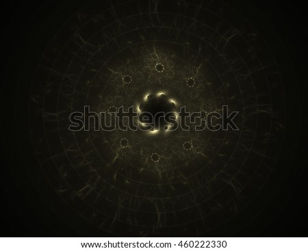 Particles of abstract fractal forms on the subject of nuclear physics science and graphic design. Geometry sacred futuristic quantum digital hologram texture in development wave surreal design. - stock photo