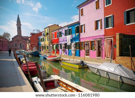 Particular architecture of village of Burano, Italy - stock photo