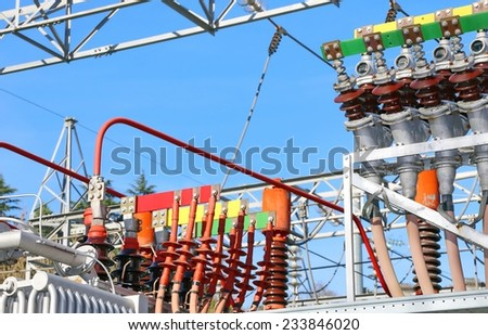 particular of the electrical connections of the large hydro-electric energy production - stock photo