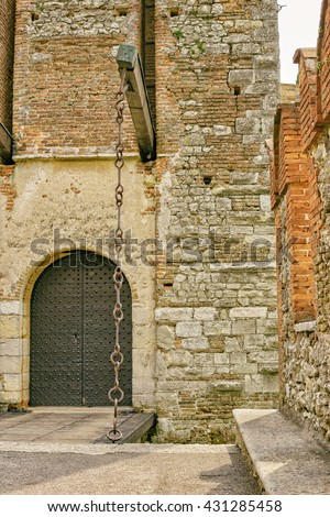 Particularly castle drawbridge, Soave Verona Italy - stock photo