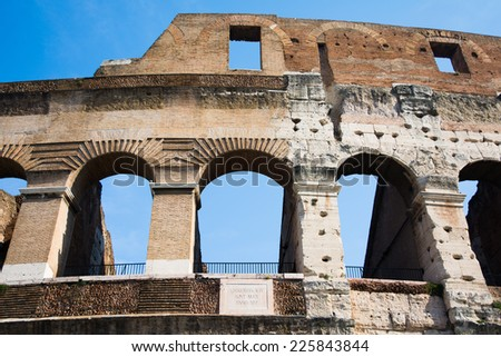 particularly of the Colosseum in Rome on a sunny day - stock photo