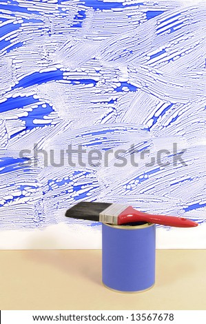 Partly finished untidy or messy blue painted wall with paint can and paintbrush. Space for copy. - stock photo