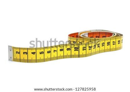 Partly rolled out yellow measure tape, isolated on white background