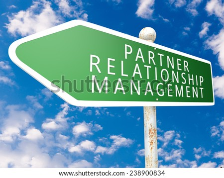 Partner Relationship Management - street sign illustration in front of blue sky with clouds.