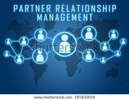 Partner Relationship Management text concept on blue background with world map and social icons. - stock photo