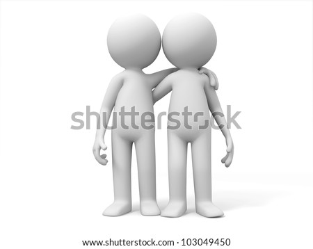 Partner/The two friends stood side by side together - stock photo