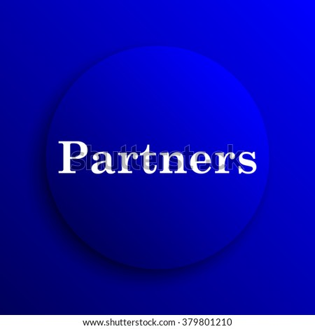 Partners icon. Internet button on blue background.
