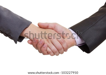 partners shaking hands over a deal on white background - stock photo