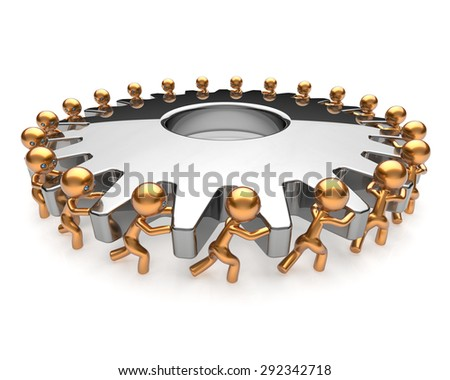 Partnership business process teamwork turning gearwheel action team work hard job men together. Brainstorming cooperation assistance activism community unity concept. 3d render isolated on white - stock photo