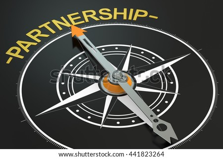 Partnership compass concept, 3D rendering - stock photo