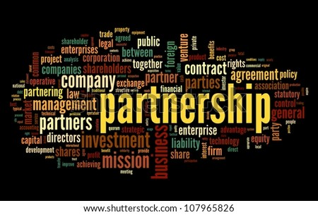 Partnership concept in tag cloud on black