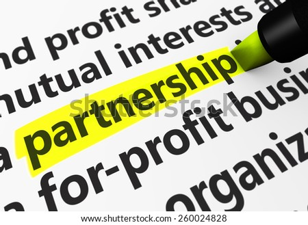Partnership concept with a 3d rendering of business related words on a paper document and partnership text highlighted with a yellow marker. - stock photo