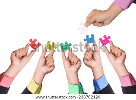 Partnership jigsaw puzzle select connection for match your business