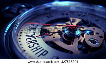 Partnership on Pocket Watch Face with Close View of Watch Mechanism. - stock photo