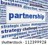 Partnership poster design. Business agreement message conceptual design - stock photo