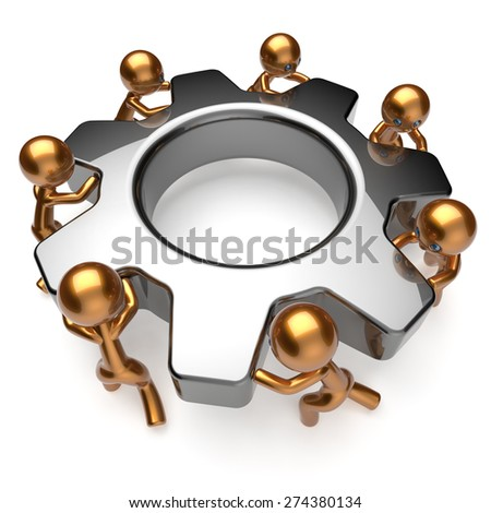 Partnership team process business workers turning gear make hard job together. Teamwork cooperation relationship efficiency community workforce concept. 3d render isolated on white - stock photo
