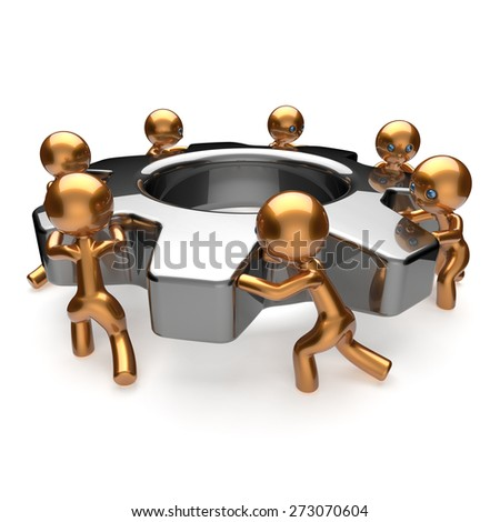 Partnership team process teamwork business workers turning gear together. Cooperation relationship efficiency community workforce concept. 3d render isolated on white - stock photo