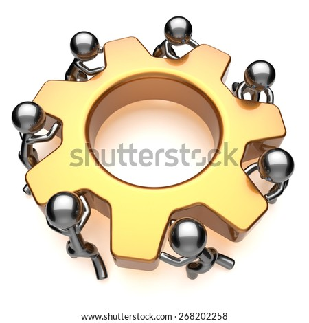 Partnership teamwork business process workers turning gear together. Team cooperation efficiency relationship community workforce concept. 3d render isolated on white - stock photo