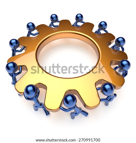 Partnership teamwork business process 11 workers turning golden gear together. Team cooperation efficiency relationship community workforce concept. 3d render isolated on white - stock photo