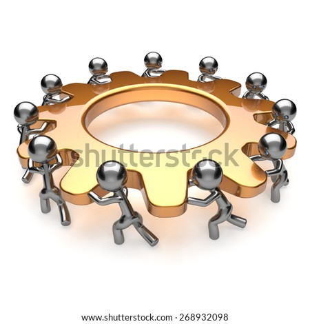 Partnership teamwork unity business process workers crowd turning gear wheel together. Team cooperation efficiency relationship community workforce men brainstorm activism concept 3d render isolated - stock photo