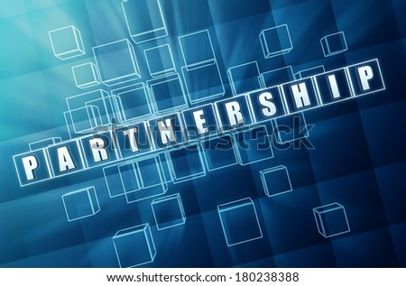 partnership - text in 3d blue glass cubes with white letters, business teamwork growth concept words - stock photo