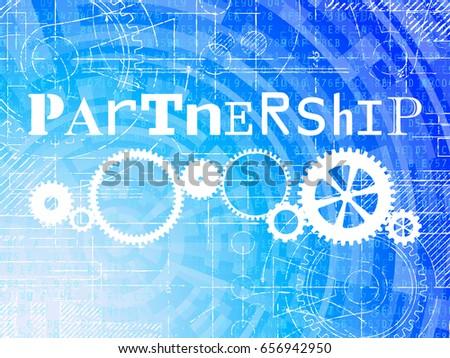 Partnership word on high tech blueprint stock illustration 656942950 partnership word on high tech blueprint and data background malvernweather Choice Image