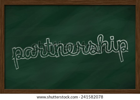 partnership word written on chalkboard