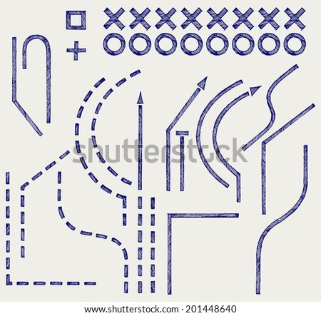 Parts and plan for the soccer game. Doodle style. Raster version - stock photo