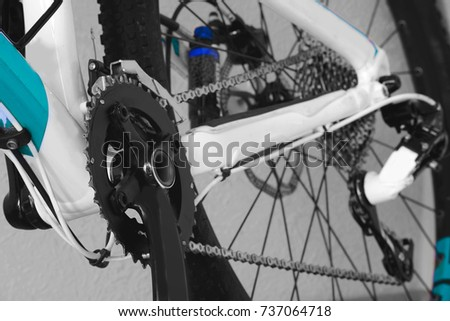 parts bicycle wheel, chain, cycling road bike frame small depth of field