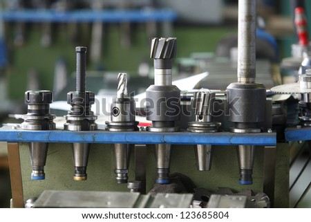 Parts for machines in a factory - stock photo