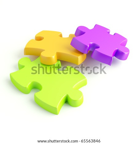 Parts of a puzzle with funny colors on a white background - stock photo