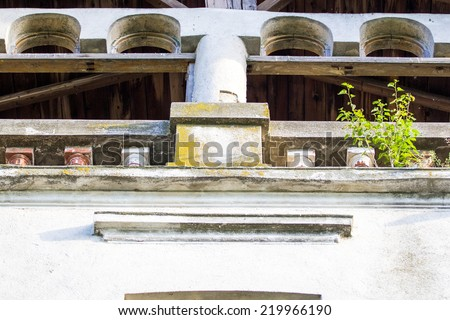 Parts of a ruined house - different textures  - stock photo
