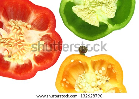 Parts of colorful sweet bell pepper.  with a clipping path - stock photo