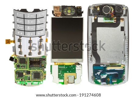 Parts of disassembled cell phone, isolated - stock photo