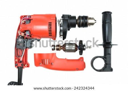 Parts of Drill isolated on white background - stock photo