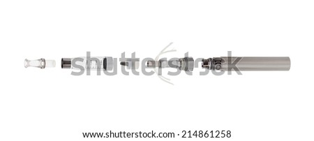 parts of electronic cigarette on white background